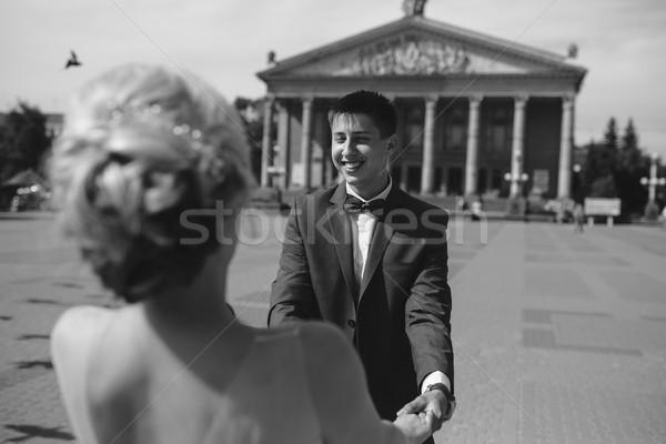 молодые свадьба пару ходьбе любви Сток-фото © tekso