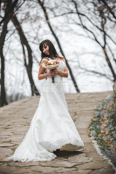 Jonge mooie bruid vrouw bloemen meisje Stockfoto © tekso