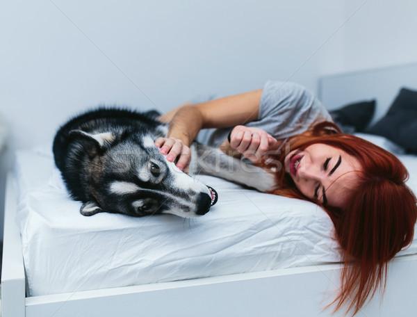 пару кровать гетеросексуальные пары спальня вместе Сток-фото © tekso