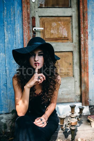 Vintage donna strega posa sfondo abbandonato Foto d'archivio © tekso