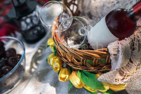 Picknick ingesteld gras bos blad glas Stockfoto © tekso