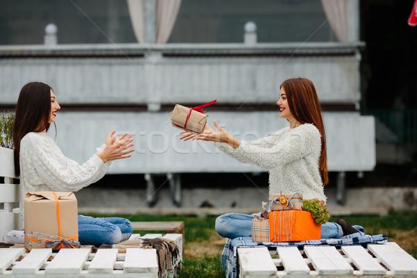 Meisjes geschenken ander twee mooie vergadering Stockfoto © tekso