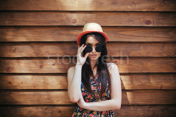 beautiful girl poses for camera in the city Stock photo © tekso