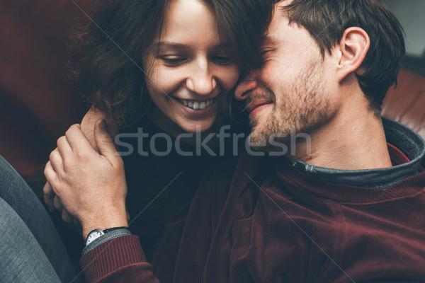 Kız öpücük erkek arkadaş üzerinde bağbozumu çift Stok fotoğraf © tekso
