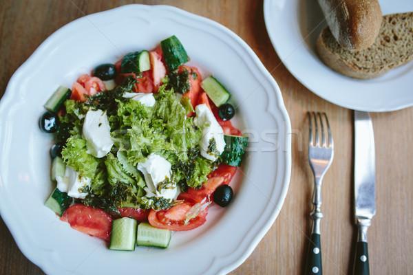 Vegetariano desayuno manana verduras frescas ensalada queso Foto stock © tekso