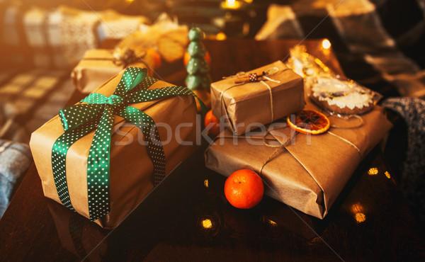 Ajándékok hazugság fa asztal gyönyörű hó háttér Stock fotó © tekso
