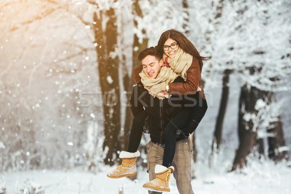 Stockfoto: Gelukkig · paar · samen · sneeuw · park