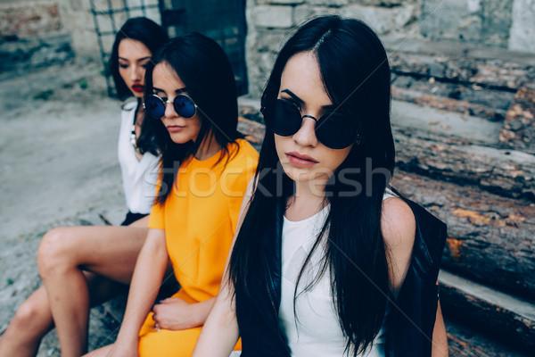 Three young beautiful girls Stock photo © tekso