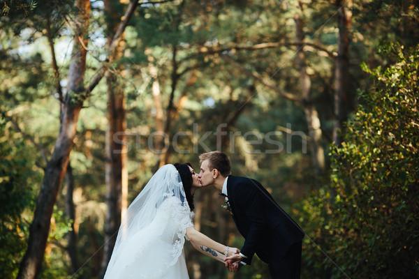 Foto d'archivio: Bella · wedding · Coppia · bacio · foresta · donna