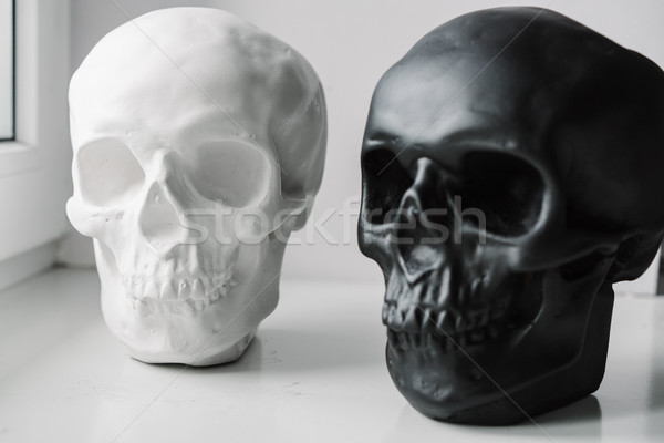 White and black skulls stand on the windowsill Stock photo © tekso