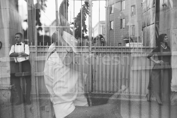 European beautiful couple posing on the street Stock photo © tekso