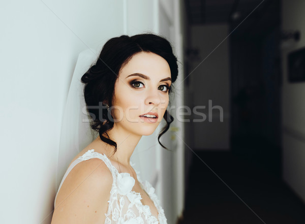 Bride posing in a corridor Stock photo © tekso