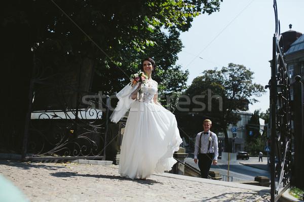 Menyasszony vőlegény pózol utcák óváros nő Stock fotó © tekso
