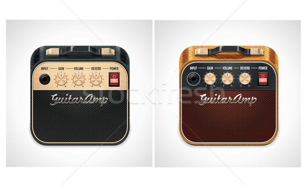 Wektora gitara placu xxl icon szczegółowy ikona Zdjęcia stock © tele52