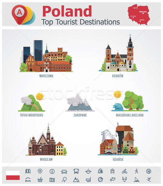 Vector Poland travel destinations icon set Stock photo © tele52