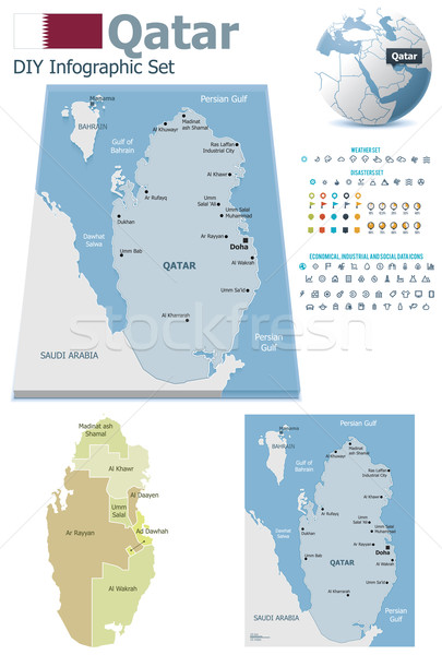 Stock photo: Qatar maps with markers