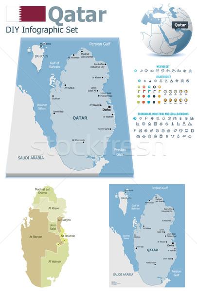 Catar mapas conjunto político símbolos Foto stock © tele52