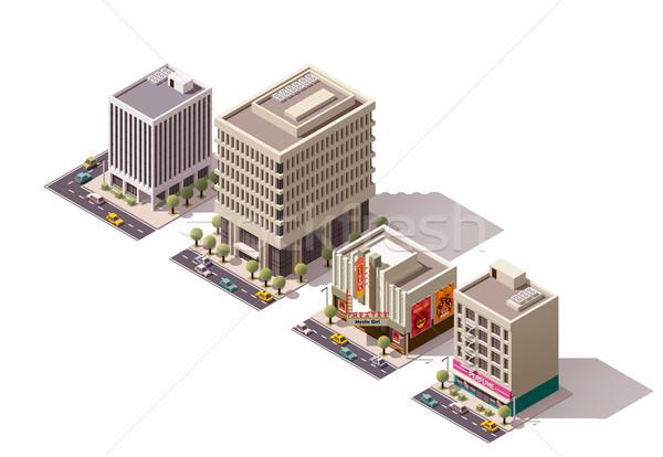 Vector isometric buildings set Stock photo © tele52