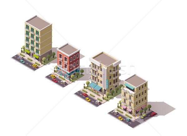 Vettore isometrica edifici set città costruzione Foto d'archivio © tele52