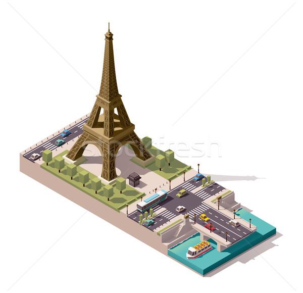 Stock fotó: Vektor · izometrikus · térkép · Eiffel-torony · egyszerűsített · város