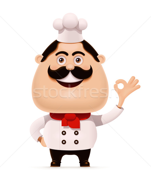 Photo stock: Vecteur · chef · moustache · geste · icône