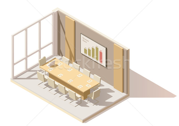 Vector isometric low poly office conference room Stock photo © tele52