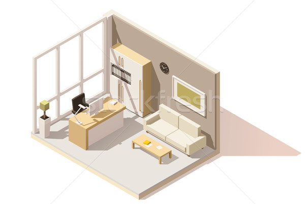 Stock photo: Vector isometric low poly office room