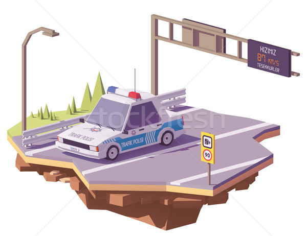 Vector low poly Turkish police car Stock photo © tele52
