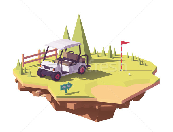 Vector low poly golf cart Stock photo © tele52