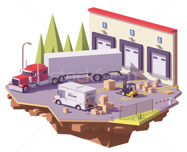 Vector low poly warehouse Stock photo © tele52