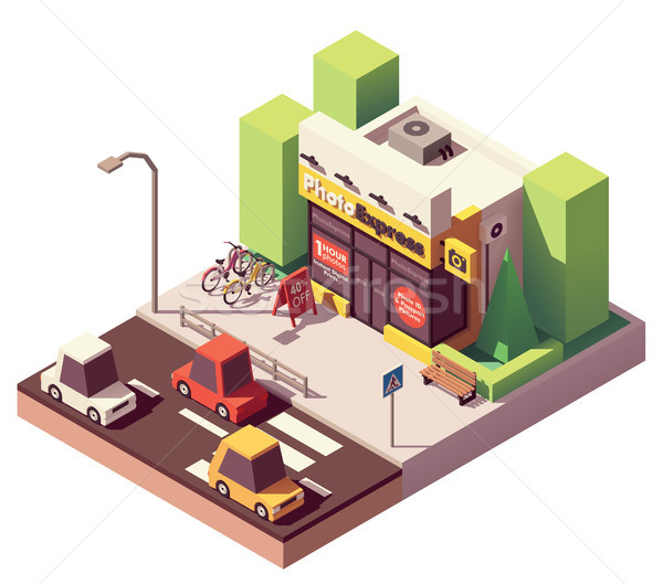 Vector isometric photo printing shop Stock photo © tele52