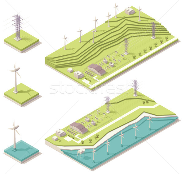 Isometric wind farm  Stock photo © tele52