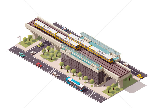Vector isometrische stad treinstation icon gebouw Stockfoto © tele52