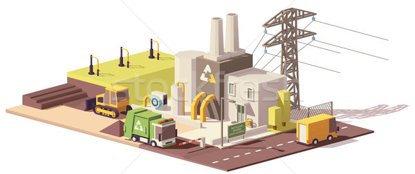Vector low poly landfill gas collection plant Stock photo © tele52