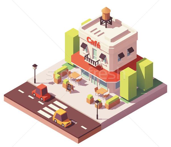 вектора изометрический кафе здании красный Открытый Сток-фото © tele52