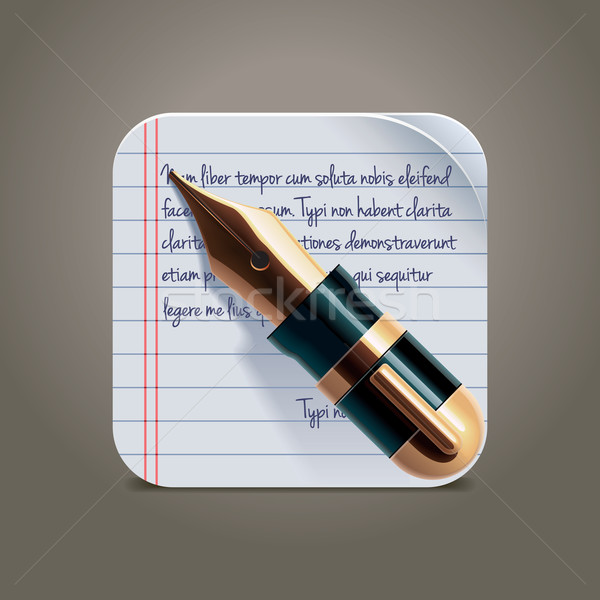 Vector fountain pen on notepad square XXL icon Stock photo © tele52