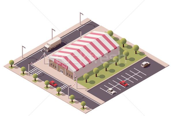 Vektor izometrikus vásár sátor bolt vásárlás Stock fotó © tele52
