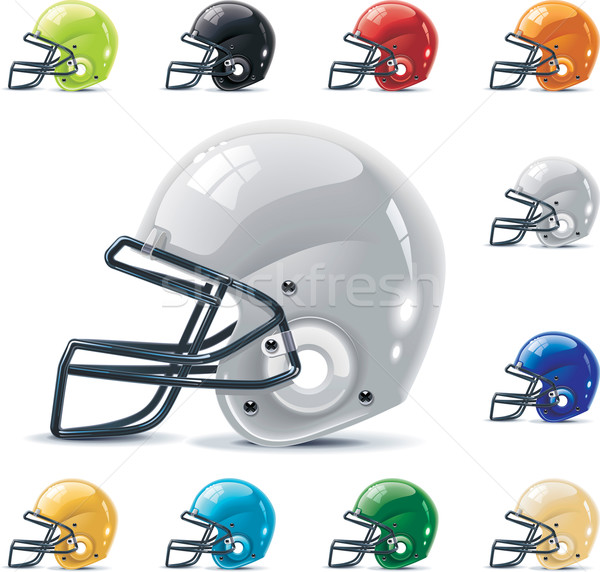 Vector American football / gridiron icon set. Part 2 – Helmets Stock photo © tele52