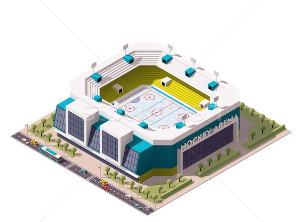 Vektor izometrikus jégkorong aréna ikon stadion Stock fotó © tele52