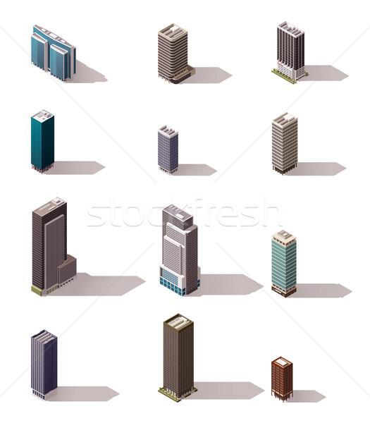 Stok fotoğraf: Vektör · izometrik · binalar · ayarlamak · kasaba · Bina