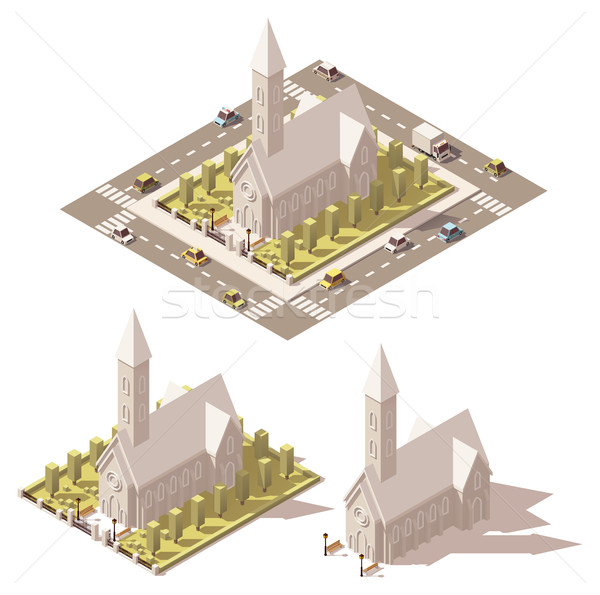 Vector isometric low poly church icon Stock photo © tele52