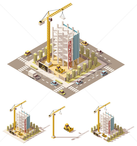 Vector isometric low poly construction site Stock photo © tele52