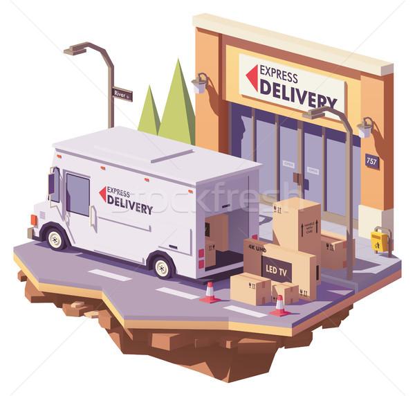 Vektor alacsony kisteherautó házhozszállítás szolgáltatás teherautó Stock fotó © tele52