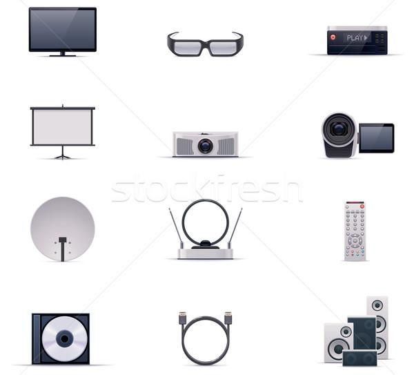 Vector video electronics icon set Stock photo © tele52