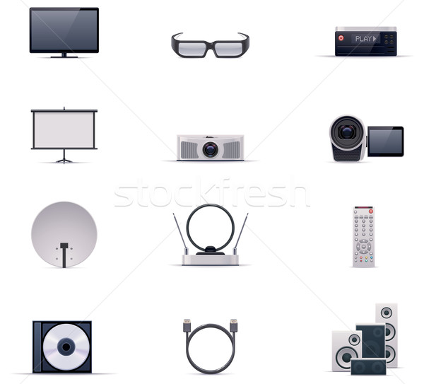 Foto stock: Vetor · vídeo · eletrônica · conjunto · tecnologia