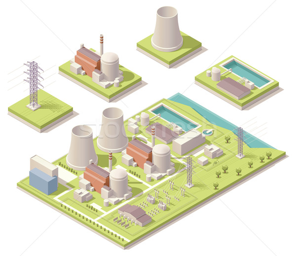 Isometric nuclear power facility Stock photo © tele52