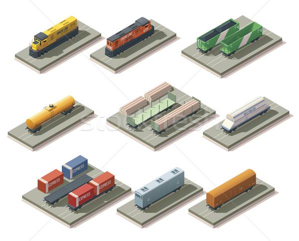 Izometryczny pociągów samochody zestaw inny Pokaż Zdjęcia stock © tele52