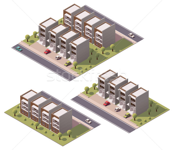 Vector isometric townhouses set Stock photo © tele52