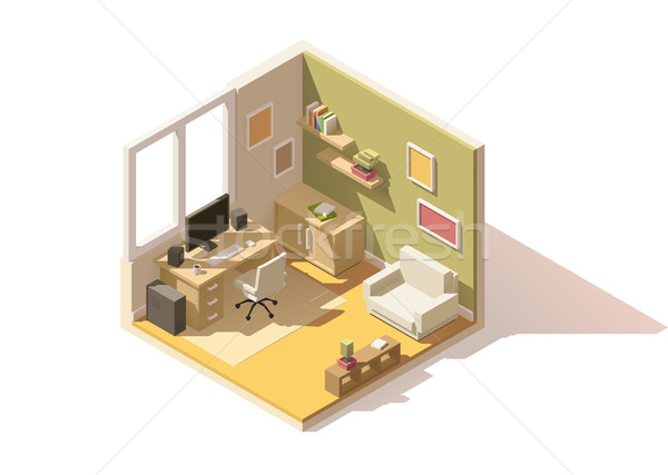 Vector isometric low poly room cutaway icon Stock photo © tele52