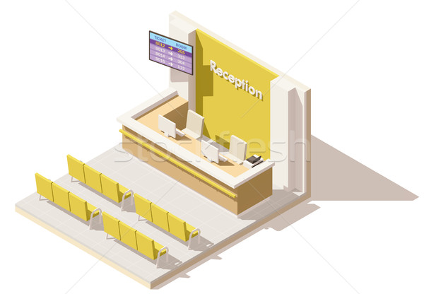 Vector isometric low poly hospital reception Stock photo © tele52